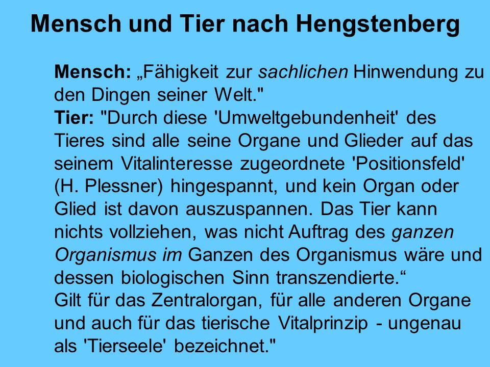 Mensch und Tier nach Hengstenberg Mensch: Fähigkeit zur sachlichen Hinwendung zu den Dingen seiner Welt.