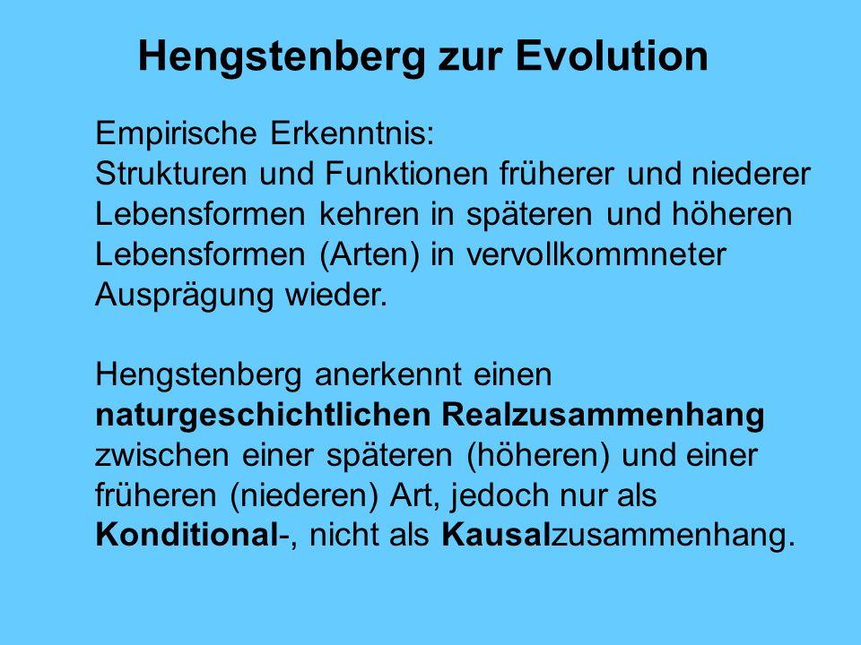 Hengstenberg zur Evolution Empirische Erkenntnis: Strukturen und Funktionen früherer und niederer Lebensformen kehren in späteren und höheren Lebensfo