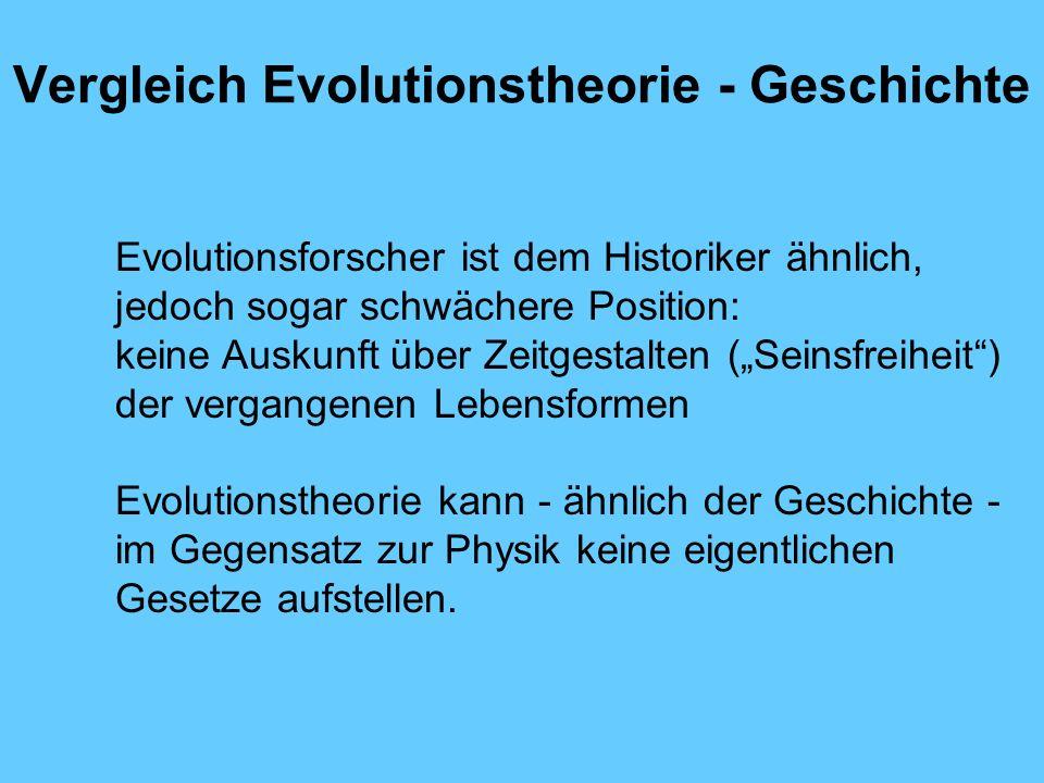 Vergleich Evolutionstheorie - Geschichte Evolutionsforscher ist dem Historiker ähnlich, jedoch sogar schwächere Position: keine Auskunft über Zeitgest