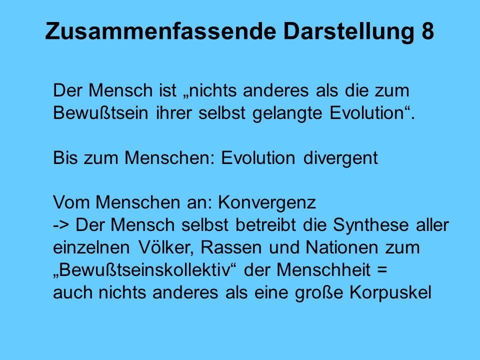 Zusammenfassende Darstellung 8 Der Mensch ist nichts anderes als die zum Bewußtsein ihrer selbst gelangte Evolution. Bis zum Menschen: Evolution diver