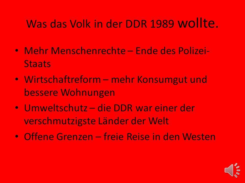 Was das Volk in der DDR 1989 wollte.