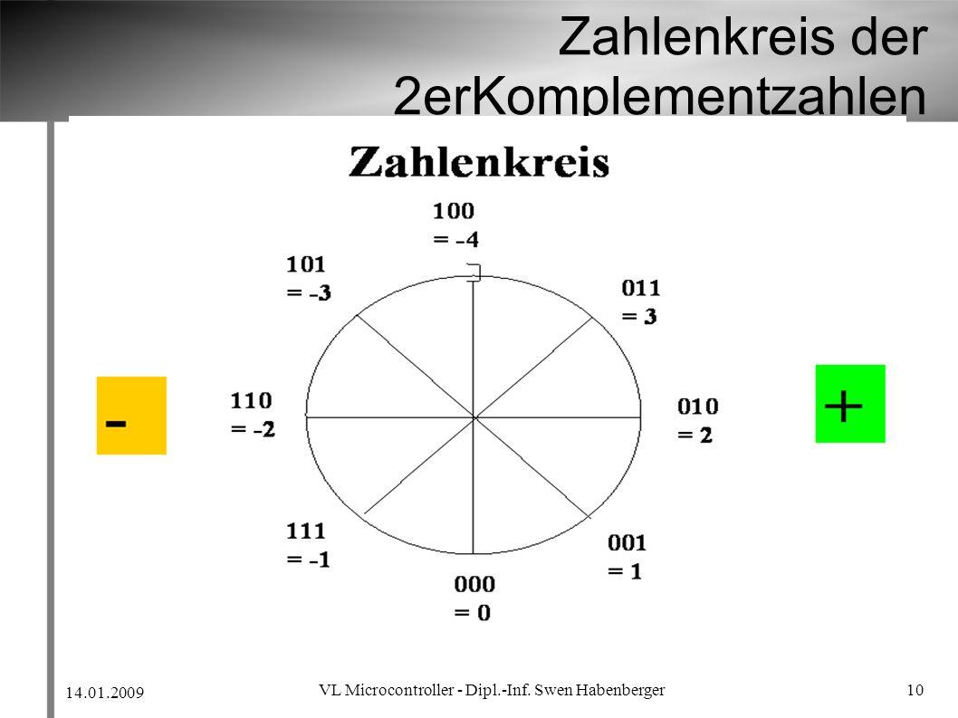 14.01.2009 VL Microcontroller - Dipl.-Inf. Swen Habenberger 10 Zahlenkreis der 2erKomplementzahlen