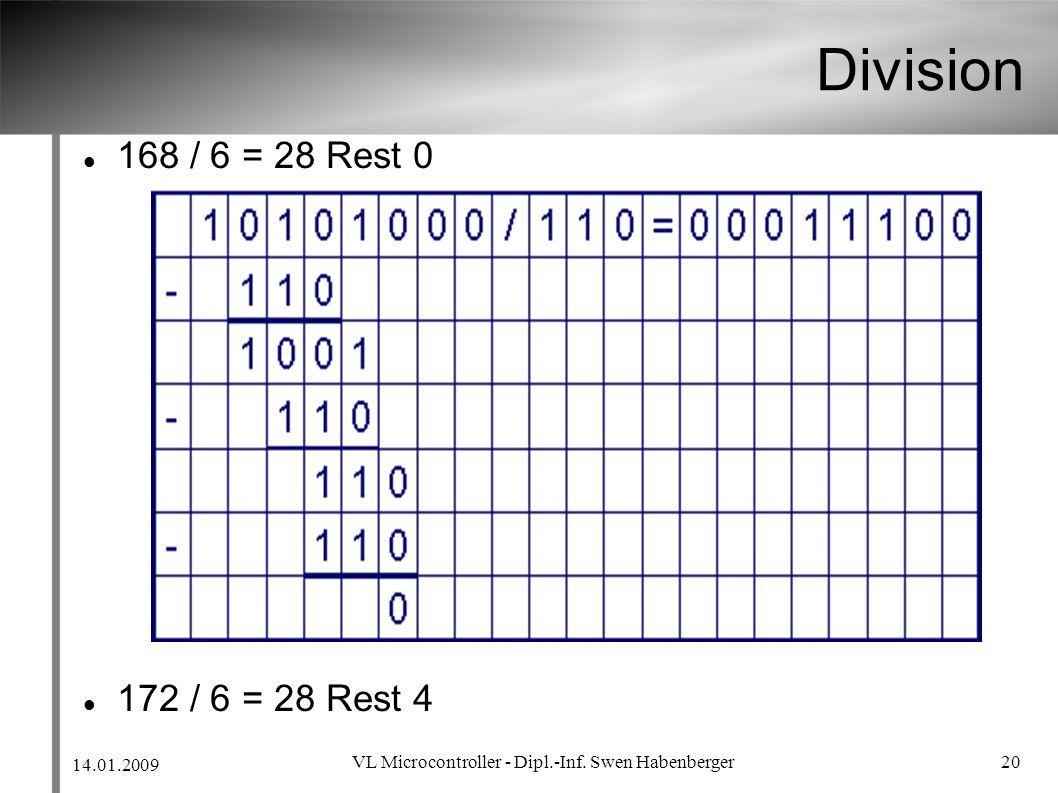 14.01.2009 VL Microcontroller - Dipl.-Inf. Swen Habenberger 20 Division 168 / 6 = 28 Rest 0 172 / 6 = 28 Rest 4