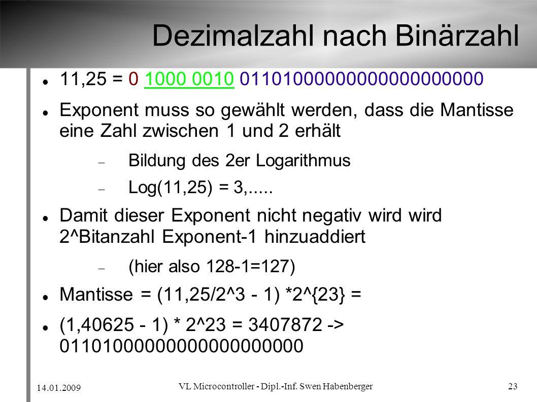 14.01.2009 VL Microcontroller - Dipl.-Inf. Swen Habenberger 23 Dezimalzahl nach Binärzahl 11,25 = 0 1000 0010 01101000000000000000000 Exponent muss so