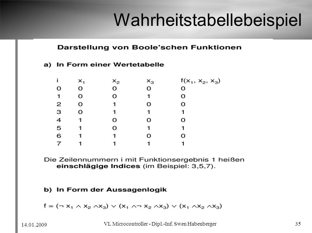 14.01.2009 VL Microcontroller - Dipl.-Inf. Swen Habenberger 35 Wahrheitstabellebeispiel