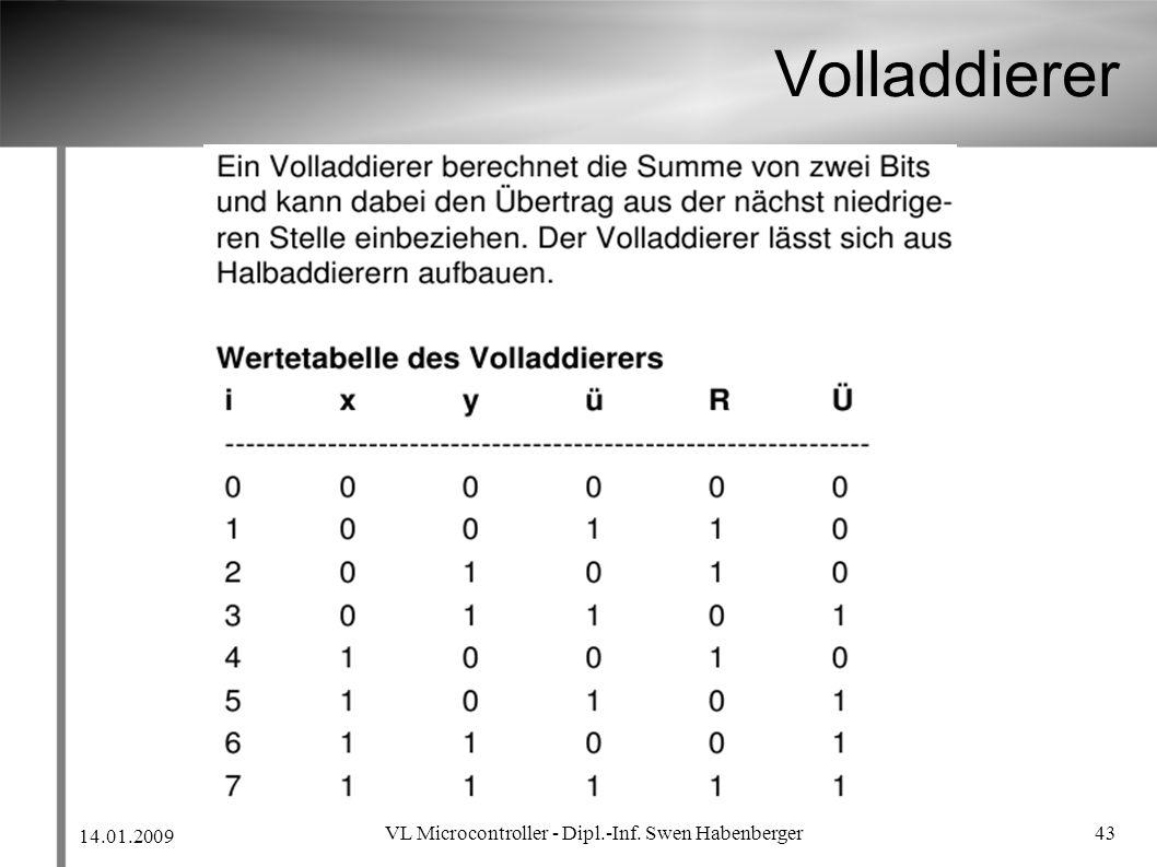 14.01.2009 VL Microcontroller - Dipl.-Inf. Swen Habenberger 43 Volladdierer