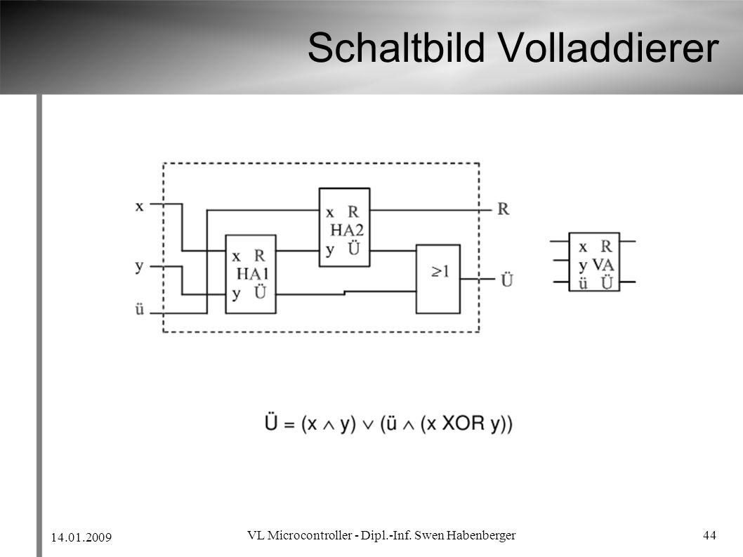 14.01.2009 VL Microcontroller - Dipl.-Inf. Swen Habenberger 44 Schaltbild Volladdierer
