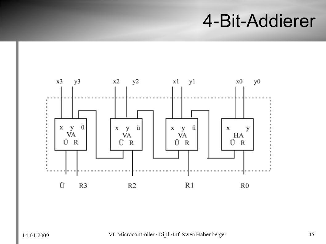 14.01.2009 VL Microcontroller - Dipl.-Inf. Swen Habenberger 45 4-Bit-Addierer