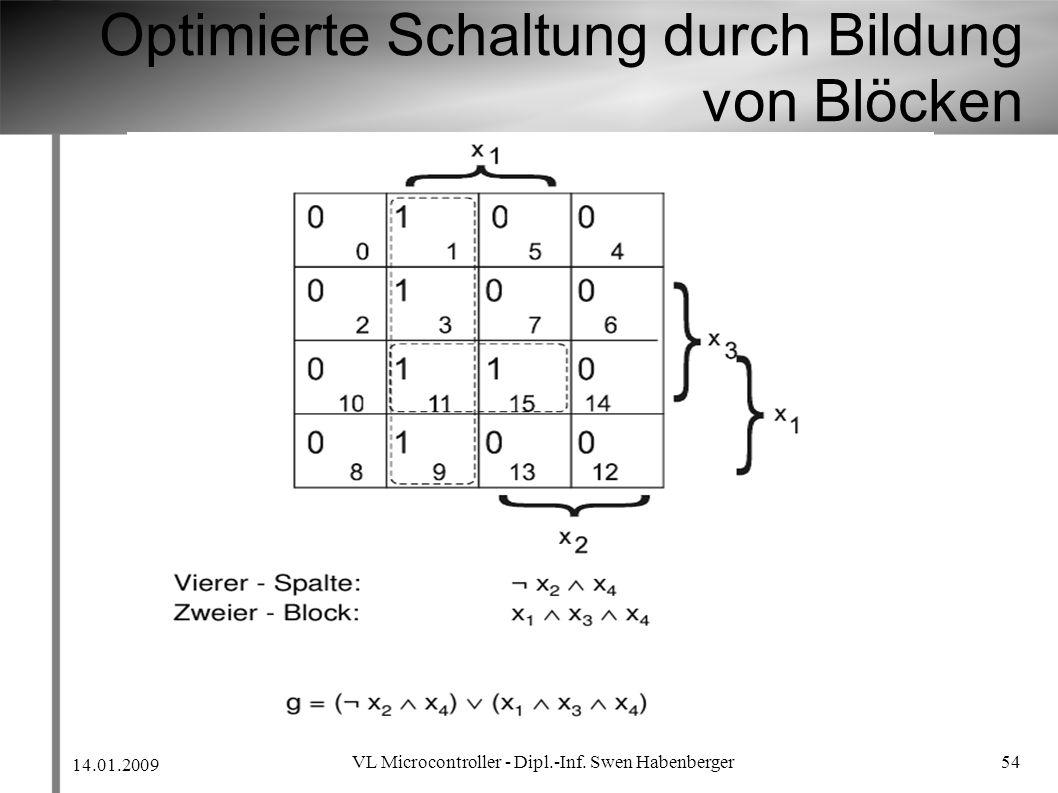 14.01.2009 VL Microcontroller - Dipl.-Inf. Swen Habenberger 54 Optimierte Schaltung durch Bildung von Blöcken