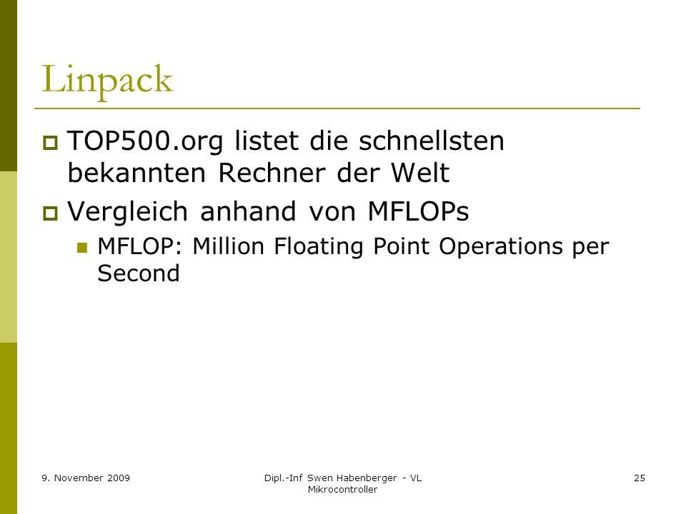 9. November 2009Dipl.-Inf Swen Habenberger - VL Mikrocontroller 25 Linpack TOP500.org listet die schnellsten bekannten Rechner der Welt Vergleich anha