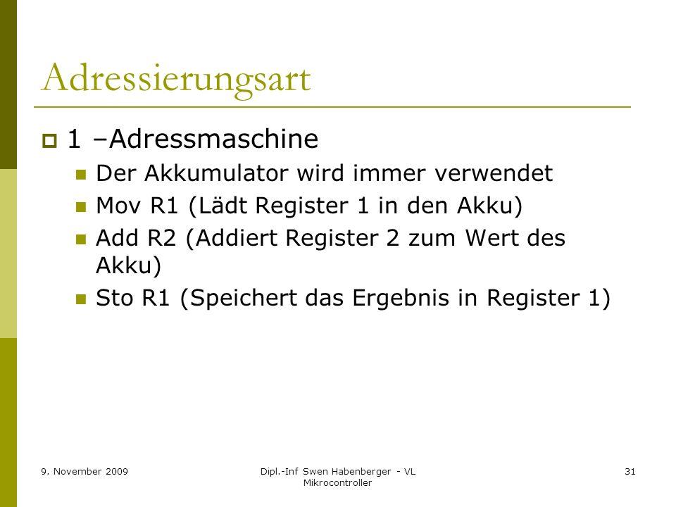 9. November 2009Dipl.-Inf Swen Habenberger - VL Mikrocontroller 31 Adressierungsart 1 –Adressmaschine Der Akkumulator wird immer verwendet Mov R1 (Läd