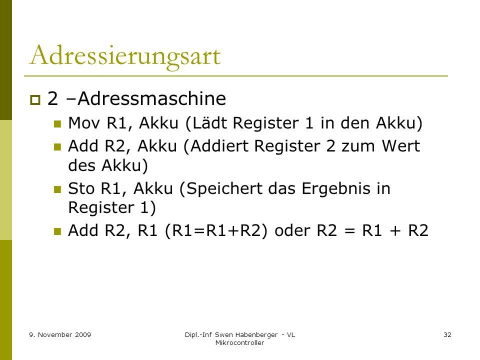 9. November 2009Dipl.-Inf Swen Habenberger - VL Mikrocontroller 32 Adressierungsart 2 –Adressmaschine Mov R1, Akku (Lädt Register 1 in den Akku) Add R