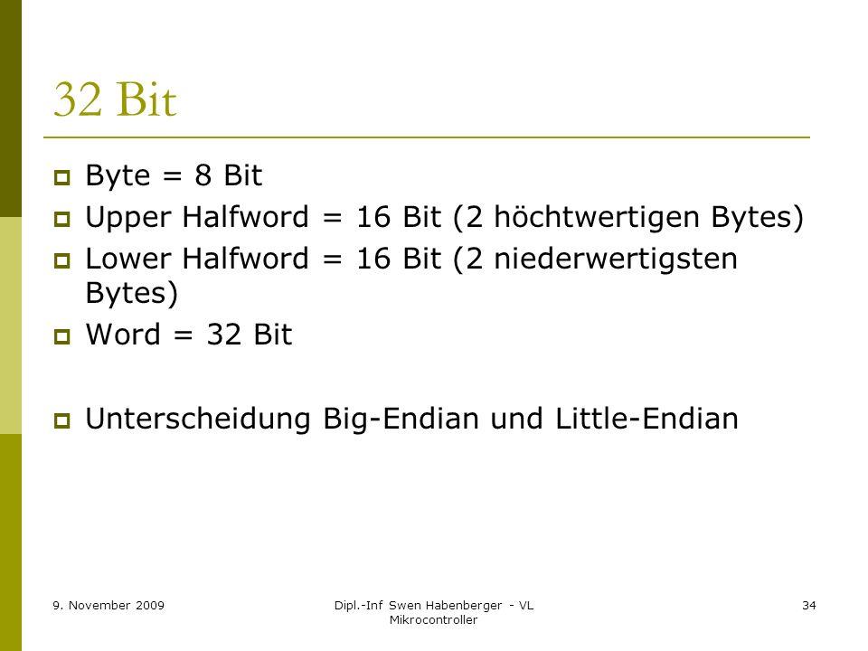 9. November 2009Dipl.-Inf Swen Habenberger - VL Mikrocontroller 34 32 Bit Byte = 8 Bit Upper Halfword = 16 Bit (2 höchtwertigen Bytes) Lower Halfword