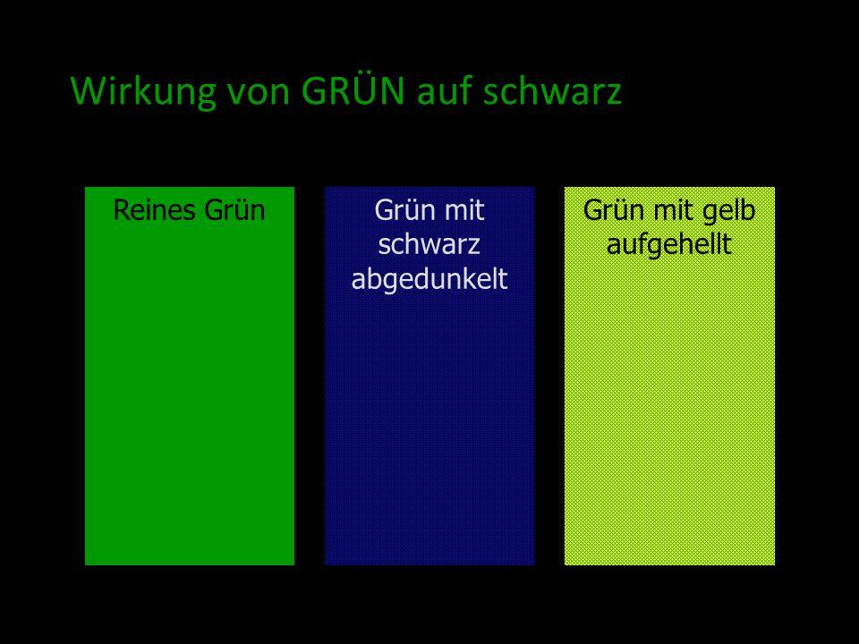 Wirkung von GRÜN auf schwarz Reines GrünGrün mit gelb aufgehellt Grün mit schwarz abgedunkelt