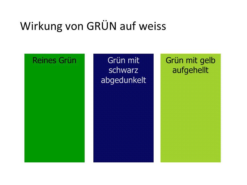 Wirkung von GRÜN auf weiss Reines GrünGrün mit gelb aufgehellt Grün mit schwarz abgedunkelt
