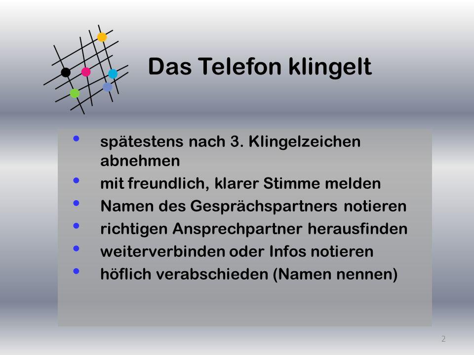 Telefongespräch vorbereiten Ziele formulieren warum rufen wir an Argumente notieren Informationsmaterial bereitlegen optimale Zeit bestimmen 3