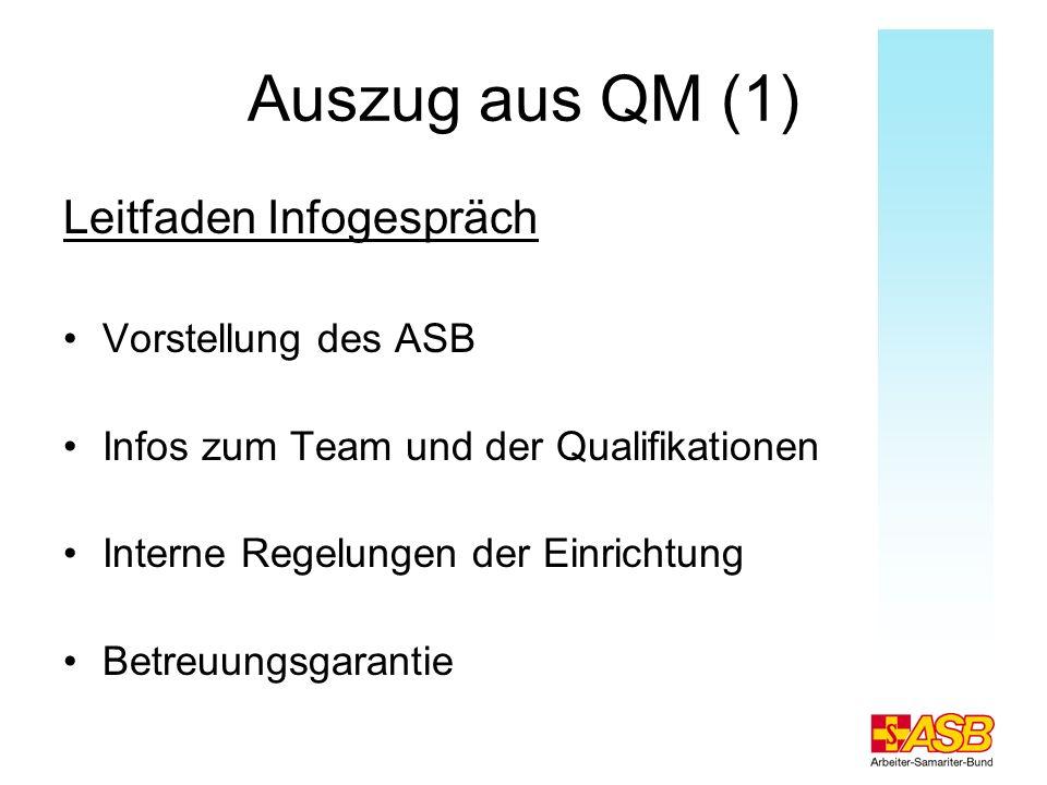 Auszug aus QM (1) Leitfaden Infogespräch Vorstellung des ASB Infos zum Team und der Qualifikationen Interne Regelungen der Einrichtung Betreuungsgaran