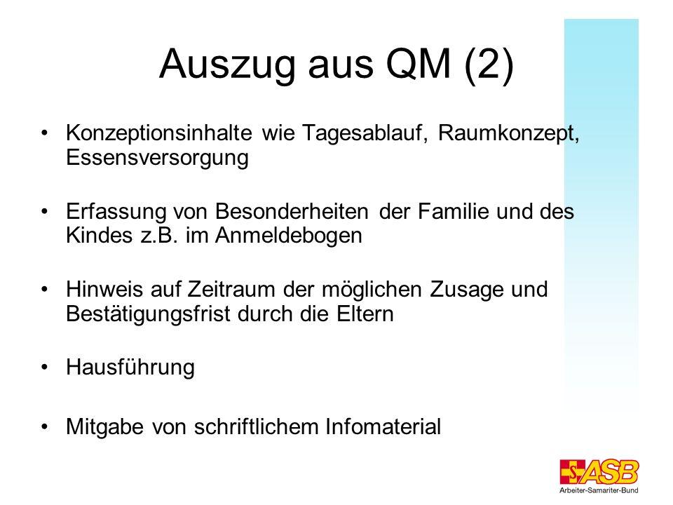 Auszug aus QM (2) Konzeptionsinhalte wie Tagesablauf, Raumkonzept, Essensversorgung Erfassung von Besonderheiten der Familie und des Kindes z.B. im An