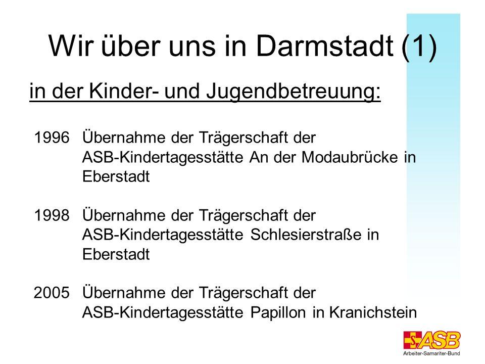 Wir über uns in Darmstadt (2) 2003-2005 Aufbau der Grundschulbetreuungen in 7 Grundschulen in Groß-Zimmern, Darmstadt, Seeheim, Bensheim und Heppenheim 2007 Beauftragung durch die Stadt Darmstadt zur Installierung eines ASB Krippenhauses - Betreuung von 48 Kindern im Alter von 1-3 Jahren
