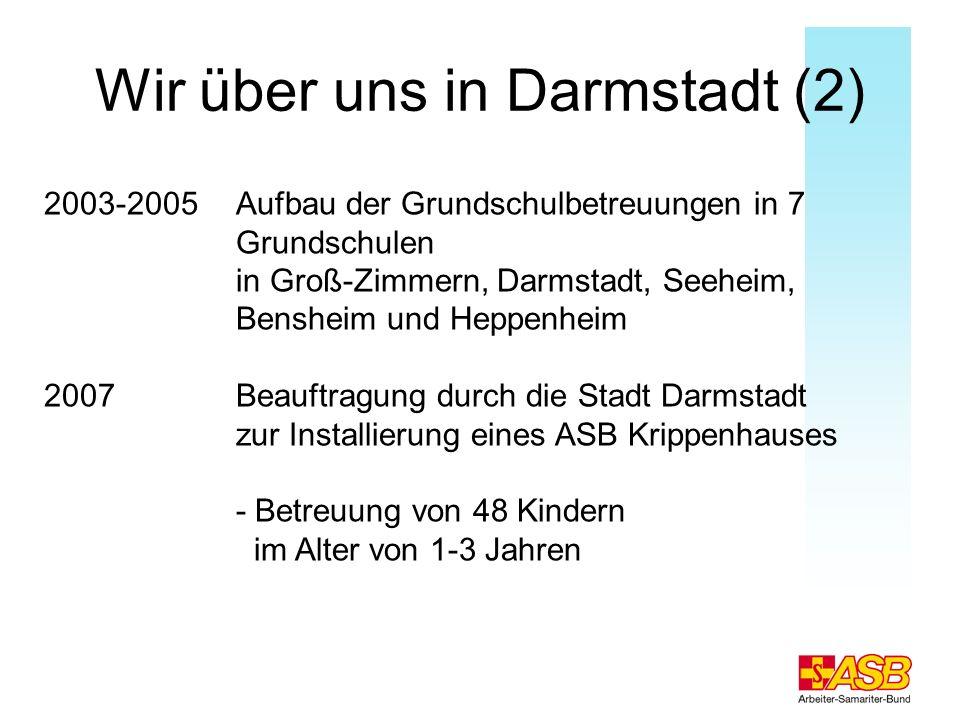 Wir über uns in Darmstadt (2) 2003-2005 Aufbau der Grundschulbetreuungen in 7 Grundschulen in Groß-Zimmern, Darmstadt, Seeheim, Bensheim und Heppenhei