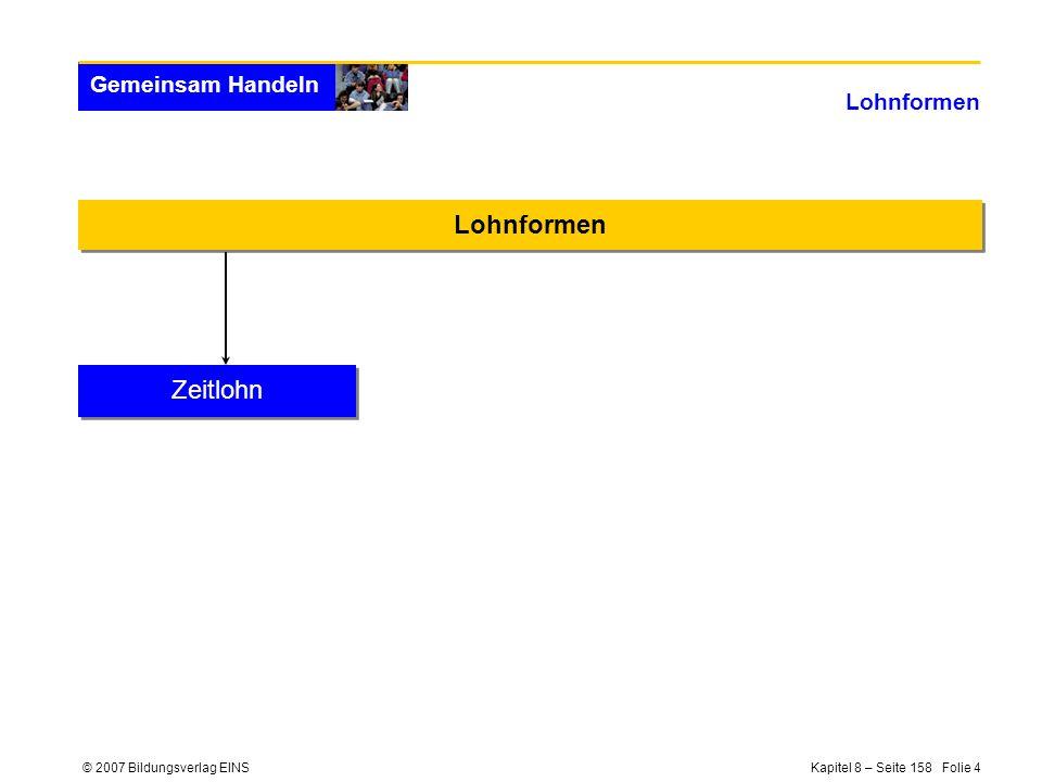 © 2007 Bildungsverlag EINS Kapitel 8 – Seite 158 Folie 4 Gemeinsam Handeln Lohnformen Zeitlohn
