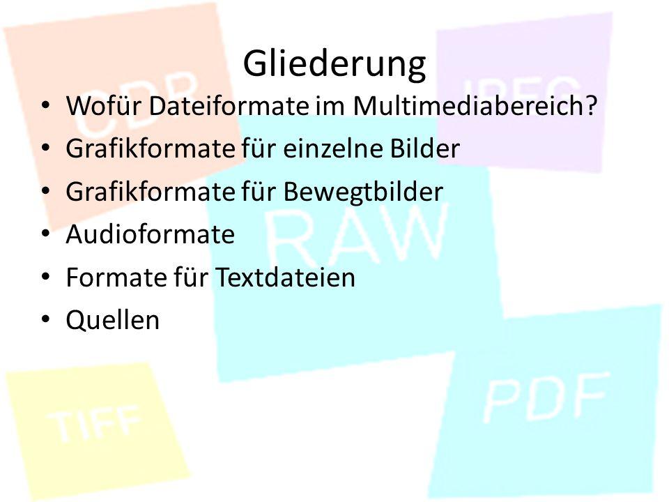 Quellen http://parataktika.de/dateien/dateiformate.html http://www.olaf-gramkow.de/studium/internet/dateiformate.pdf http://www.medien.ifi.lmu.de/lehre/ss03/dm/vorlesung/dm4b.pdf http://www.google.de/imgres?imgurl=http://www.gif- paradies.de/gifs/tiere/giraffen/giraffe_0084.gif&imgrefurl=http://www.gif - paradies.de/tiere/giraffen/3.html&usg=___bQBDjeRAfGIonBBjYR5MD5lg2 E=&h=356&w=301&sz=13&hl=de&start=18&zoom=1&tbnid=z-w4- cC1VFli- M:&tbnh=121&tbnw=102&ei=nZsPUarMMIfDtAbHooCwAw&prev=/searc h%3Fq%3Dgif%26hl%3Dde%26gbv%3D2%26tbm%3Disch&itbs=1 http://www.gif-paradies.de/