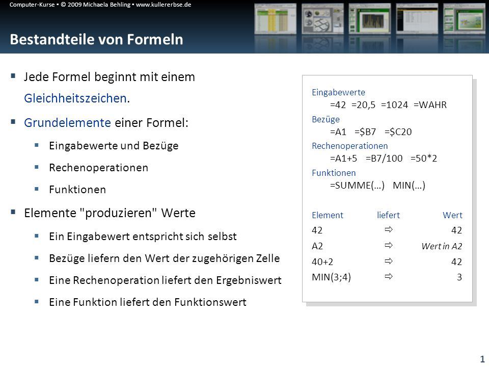 Computer-Kurse © 2009 Michaela Behling www.kullererbse.de 1 Bestandteile von Formeln Jede Formel beginnt mit einem Gleichheitszeichen. Grundelemente e