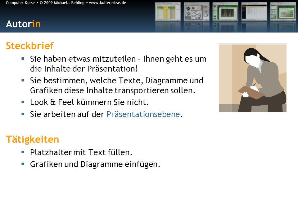 Computer-Kurse © 2009 Michaela Behling www.kullererbse.de Autorin Steckbrief Sie haben etwas mitzuteilen – Ihnen geht es um die Inhalte der Präsentation.