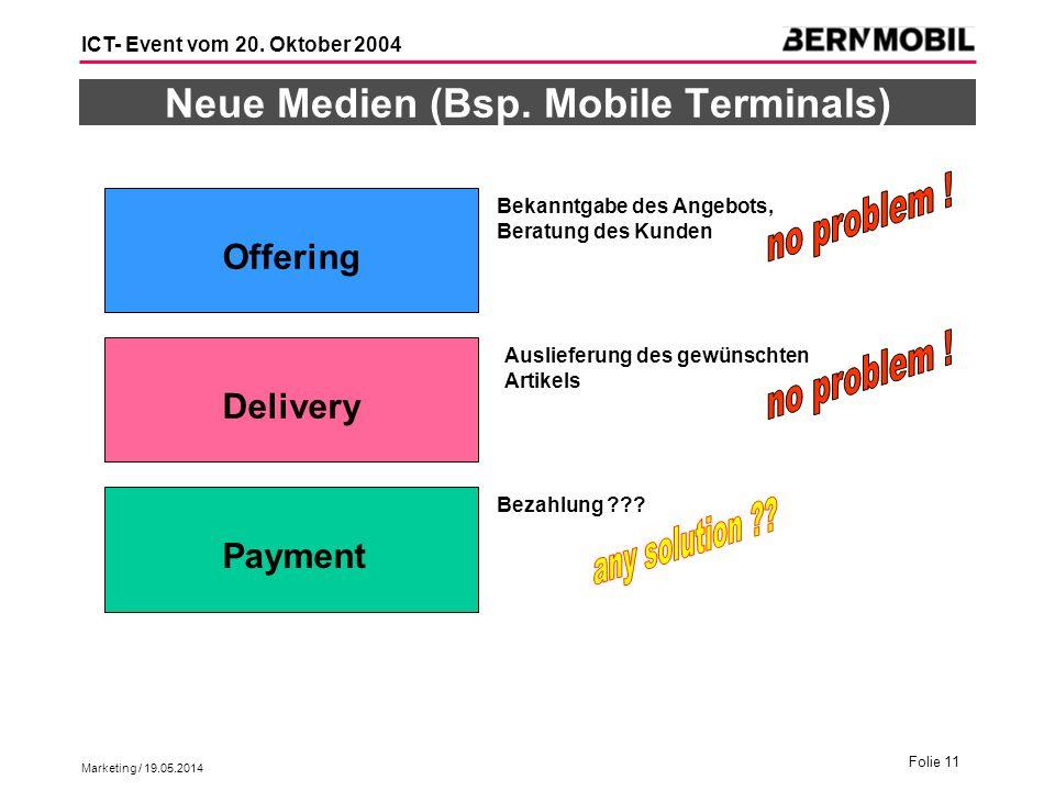 Marketing / 19.05.2014 Folie 11 ICT- Event vom 20. Oktober 2004 Neue Medien (Bsp. Mobile Terminals) Offering Payment Delivery Bekanntgabe des Angebots