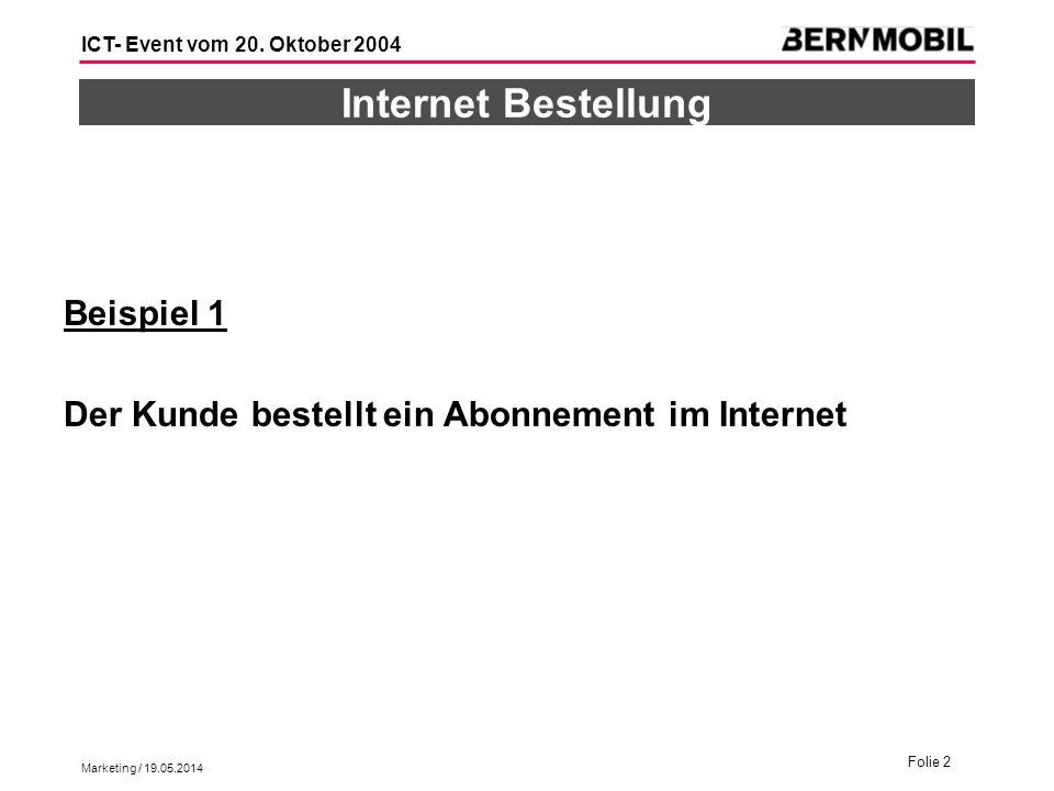 Marketing / 19.05.2014 Folie 2 ICT- Event vom 20. Oktober 2004 Internet Bestellung Beispiel 1 Der Kunde bestellt ein Abonnement im Internet