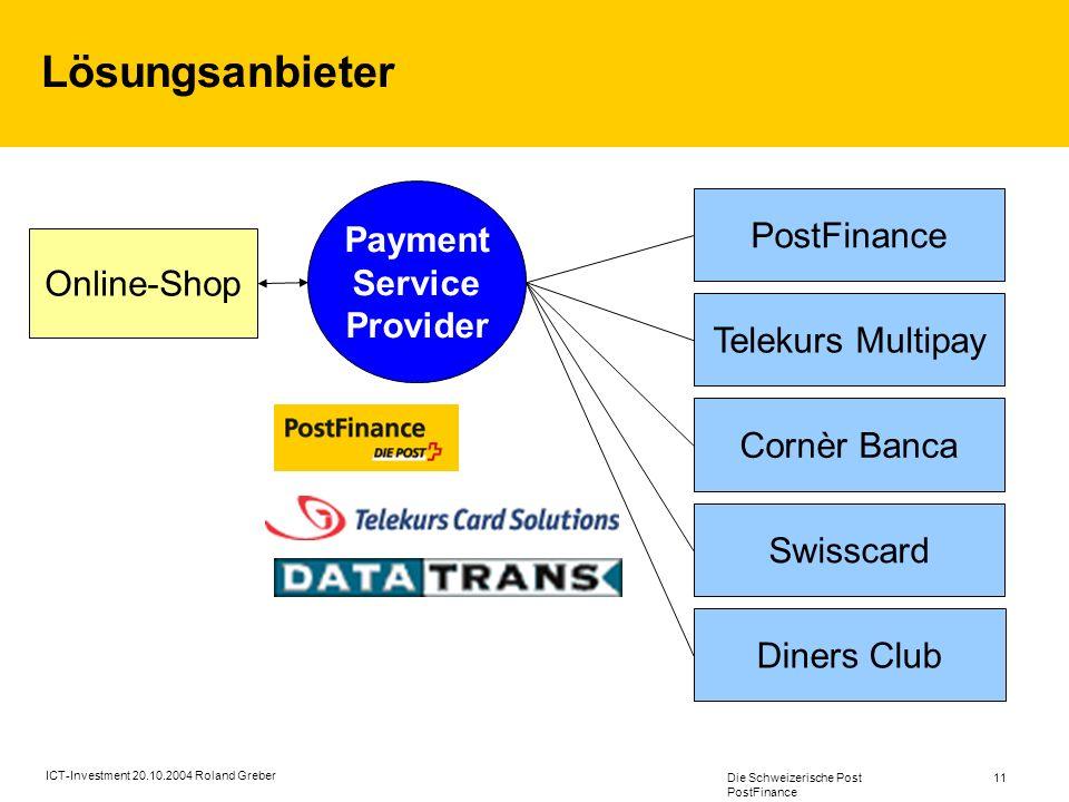 Die Schweizerische Post PostFinance 11 ICT-Investment 20.10.2004 Roland Greber Lösungsanbieter Online-Shop Payment Service Provider Telekurs Multipay Cornèr Banca Swisscard Diners Club PostFinance