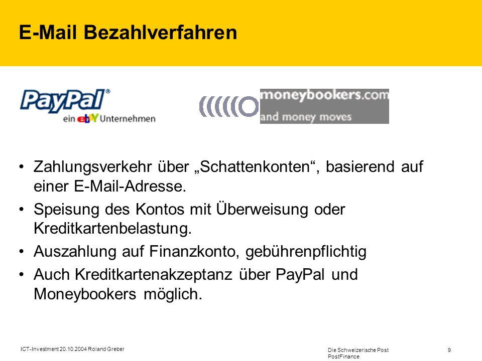 Die Schweizerische Post PostFinance 9 ICT-Investment 20.10.2004 Roland Greber E-Mail Bezahlverfahren Zahlungsverkehr über Schattenkonten, basierend auf einer E-Mail-Adresse.