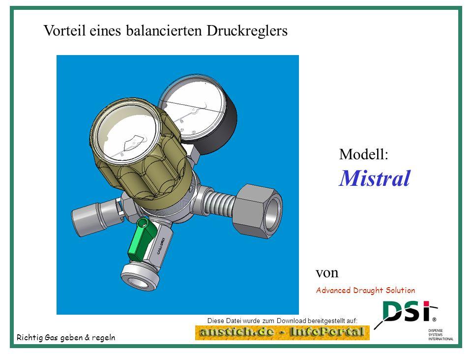 Richtig Gas geben & regeln Advanced Draught Solution Vorteil eines balancierten Druckreglers Modell: Mistral von Diese Datei wurde zum Download bereit