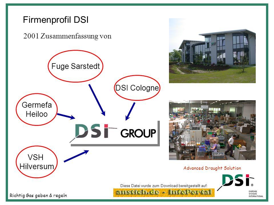 Richtig Gas geben & regeln Advanced Draught Solution Firmenprofil DSI Germefa Heiloo DSI Cologne VSH Hilversum Fuge Sarstedt 2001 Zusammenfassung von