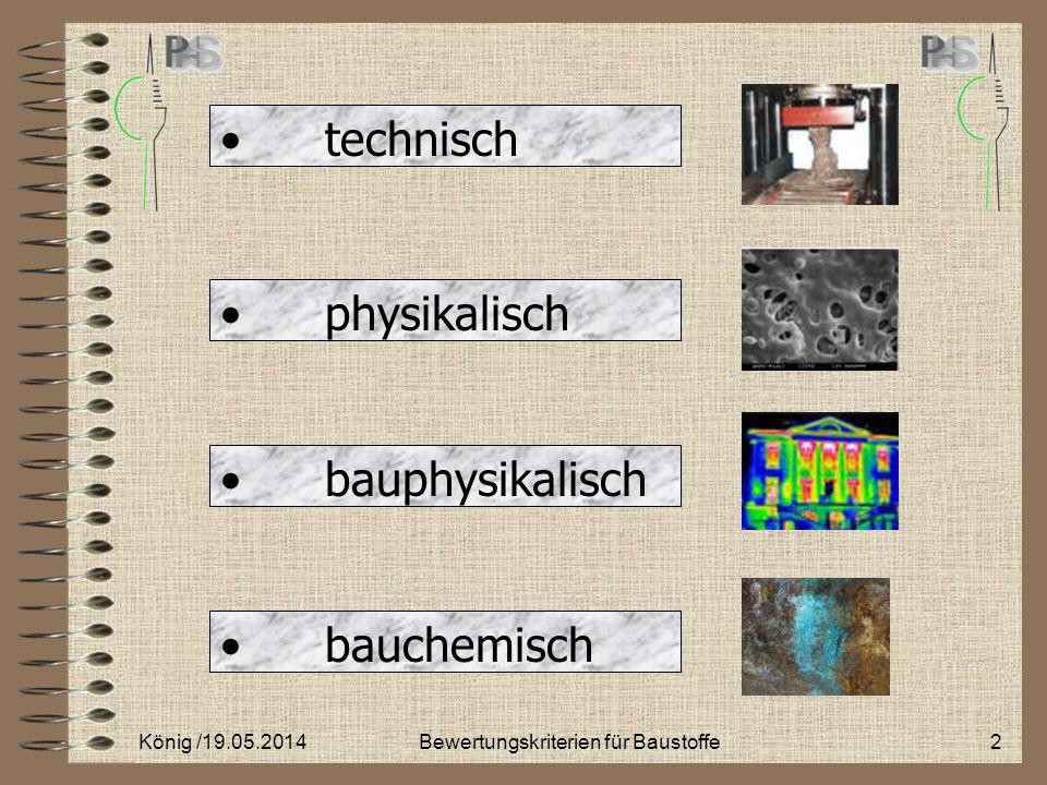ökologisch ergonomisch ökonomisch ästhetisch König / 19.05.20143Bewertungskriterien für Baustoffe