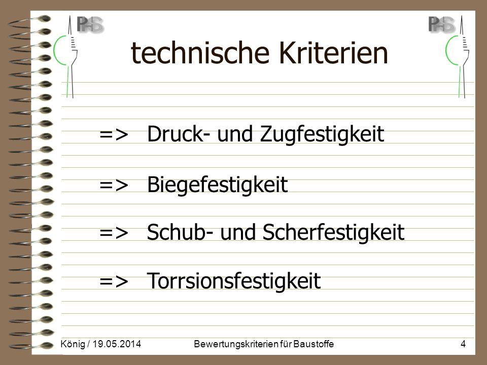 technische Kriterien => Druck- und Zugfestigkeit => Biegefestigkeit => Schub- und Scherfestigkeit => Torrsionsfestigkeit König / 19.05.20144Bewertungskriterien für Baustoffe