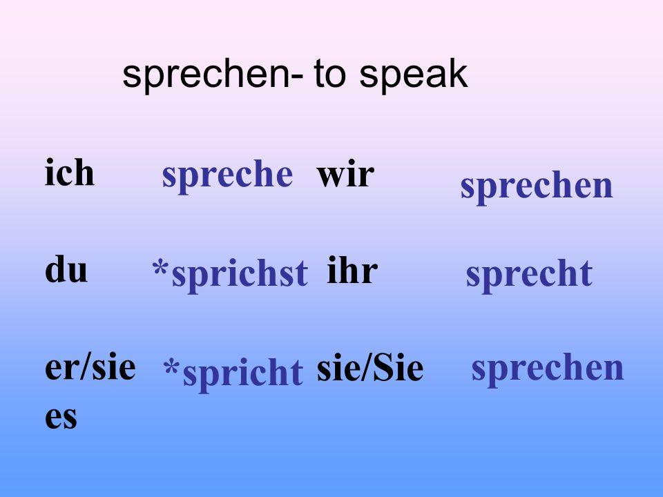 sprechen- to speak ich du er/sie es wir ihr sie/Sie spreche *sprichst *spricht sprechen sprecht