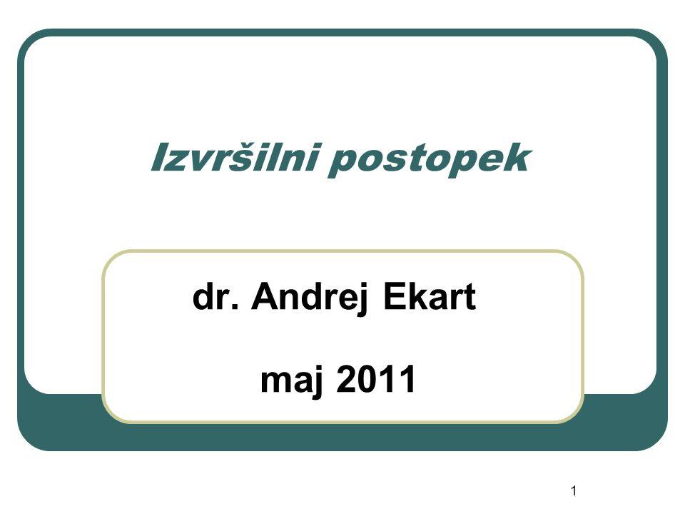 1 Izvršilni postopek dr. Andrej Ekart maj 2011