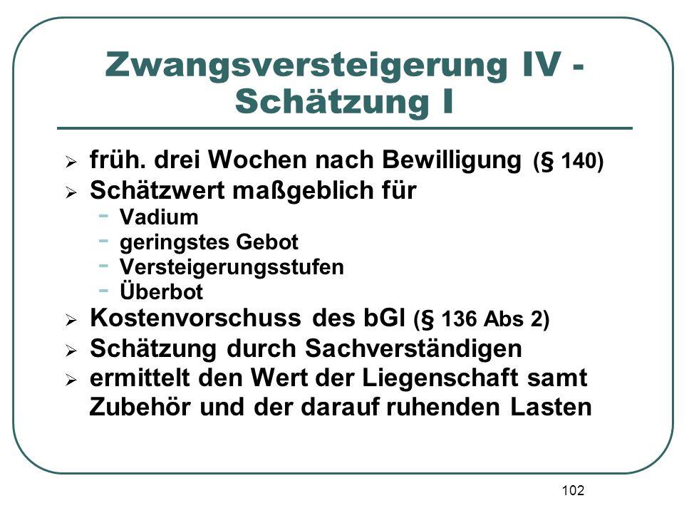 102 Zwangsversteigerung IV - Schätzung I früh. drei Wochen nach Bewilligung (§ 140) Schätzwert maßgeblich für - Vadium - geringstes Gebot - Versteiger