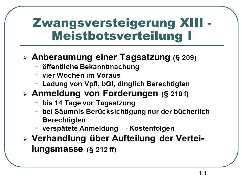 111 Zwangsversteigerung XIII - Meistbotsverteilung I Anberaumung einer Tagsatzung (§ 209) - öffentliche Bekanntmachung - vier Wochen im Voraus - Ladun