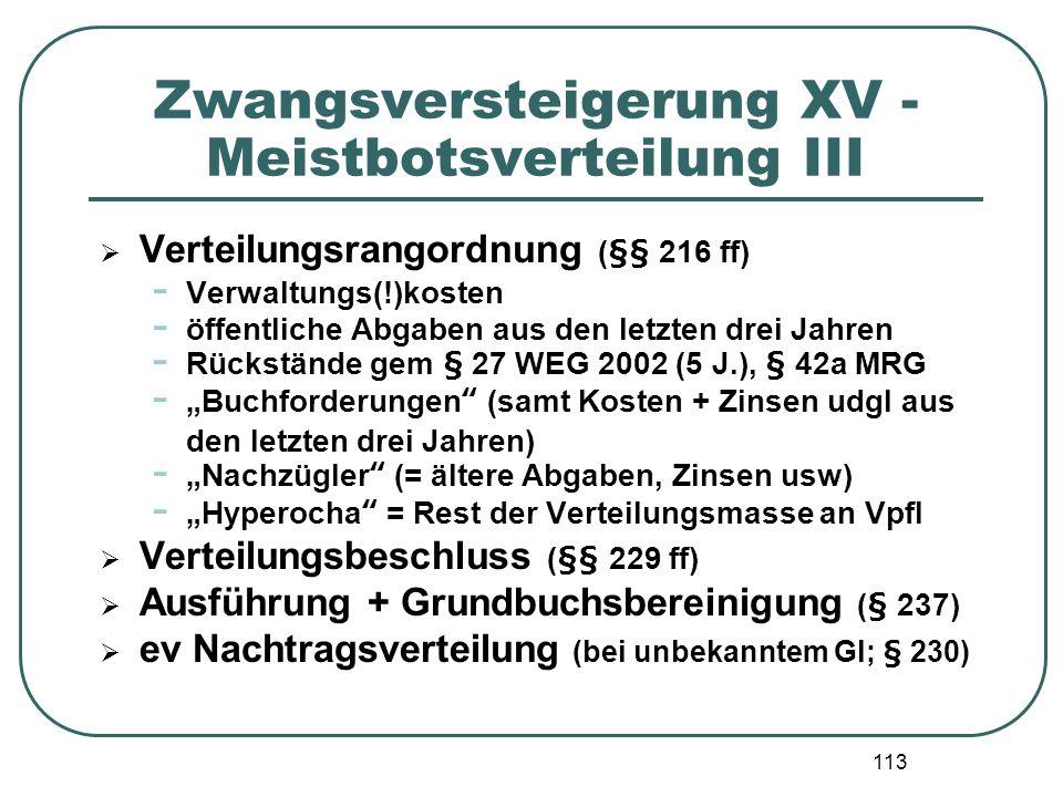 113 Zwangsversteigerung XV - Meistbotsverteilung III Verteilungsrangordnung (§§ 216 ff) - Verwaltungs(!)kosten - öffentliche Abgaben aus den letzten d