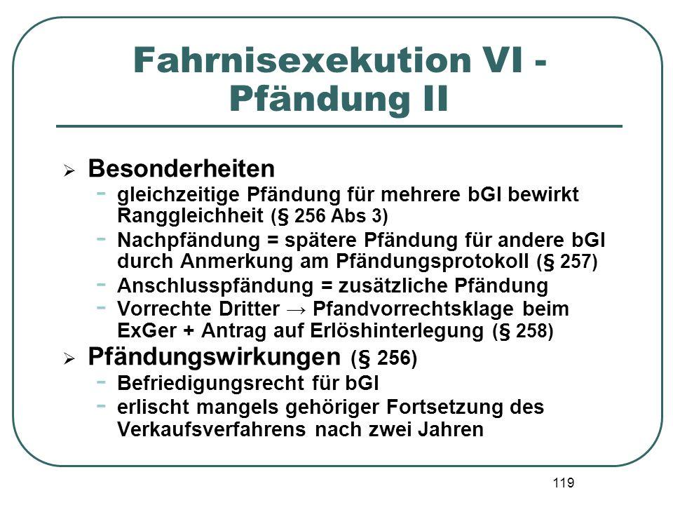 119 Fahrnisexekution VI - Pfändung II Besonderheiten - gleichzeitige Pfändung für mehrere bGl bewirkt Ranggleichheit (§ 256 Abs 3) - Nachpfändung = sp
