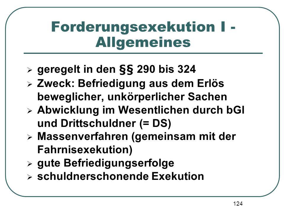 124 Forderungsexekution I - Allgemeines geregelt in den §§ 290 bis 324 Zweck: Befriedigung aus dem Erlös beweglicher, unkörperlicher Sachen Abwicklung