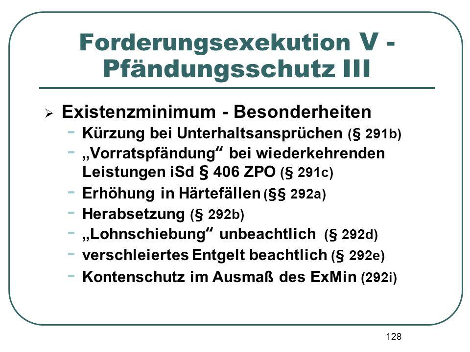 128 Forderungsexekution V - Pfändungsschutz III Existenzminimum - Besonderheiten - Kürzung bei Unterhaltsansprüchen (§ 291b) - Vorratspfändung bei wie