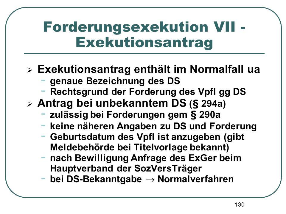 130 Forderungsexekution VII - Exekutionsantrag Exekutionsantrag enthält im Normalfall ua - genaue Bezeichnung des DS - Rechtsgrund der Forderung des V