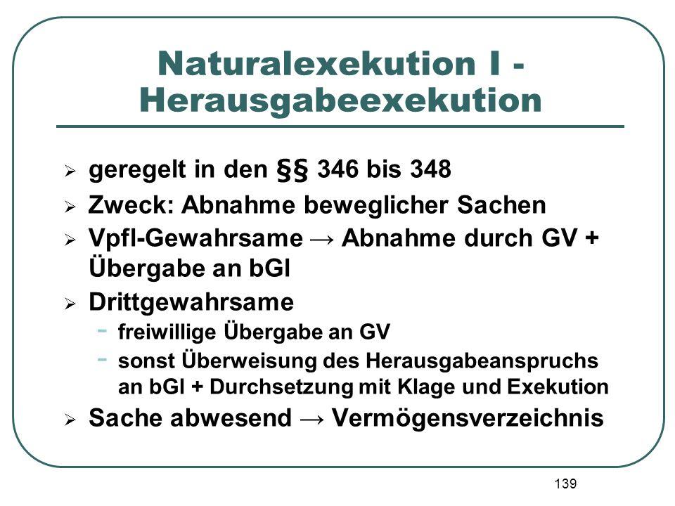 139 Naturalexekution I - Herausgabeexekution geregelt in den §§ 346 bis 348 Zweck: Abnahme beweglicher Sachen Vpfl-Gewahrsame Abnahme durch GV + Überg