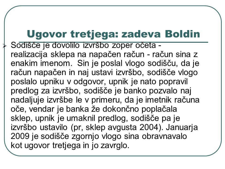 Ugovor tretjega: zadeva Boldin Sodišče je dovolilo izvršbo zoper očeta - realizacija sklepa na napačen račun - račun sina z enakim imenom. Sin je posl