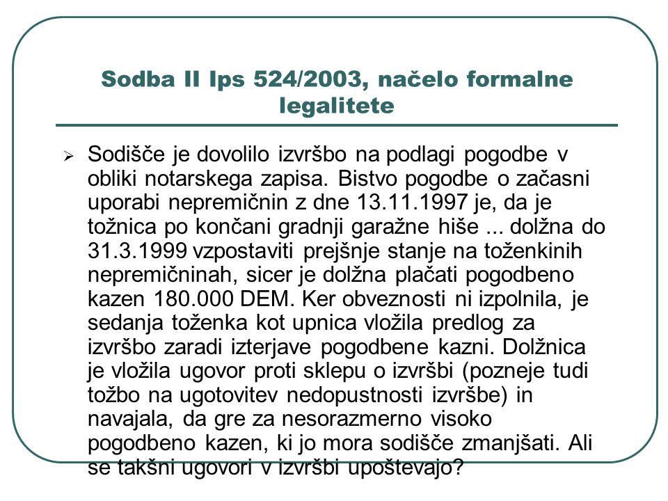 Sodba II Ips 524/2003, načelo formalne legalitete Sodišče je dovolilo izvršbo na podlagi pogodbe v obliki notarskega zapisa. Bistvo pogodbe o začasni