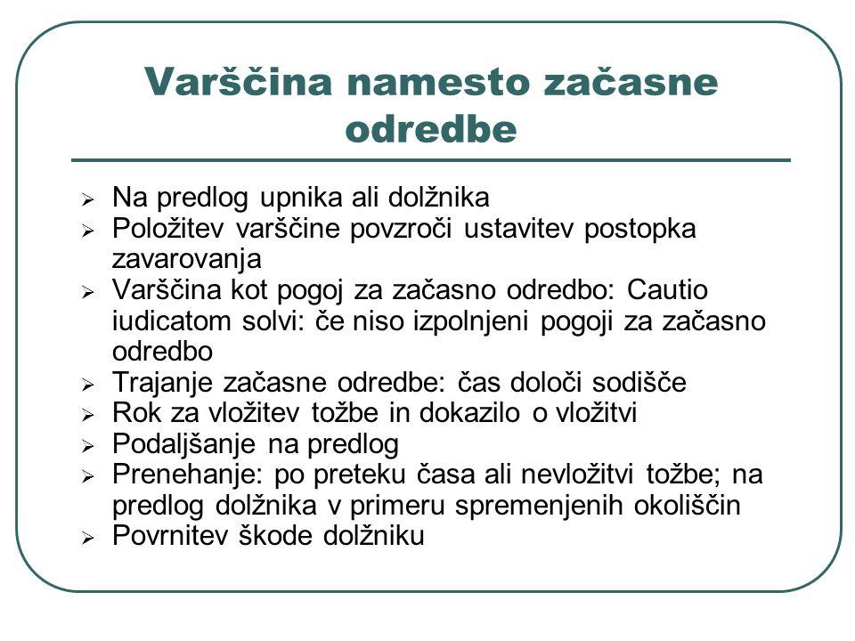 Varščina namesto začasne odredbe Na predlog upnika ali dolžnika Položitev varščine povzroči ustavitev postopka zavarovanja Varščina kot pogoj za začas