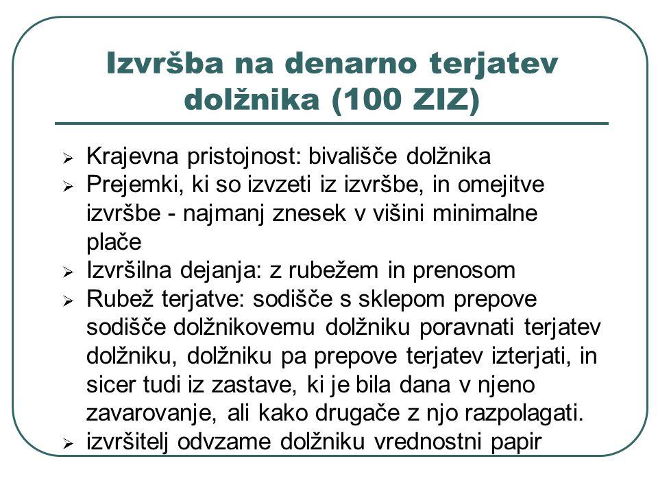 Izvršba na denarno terjatev dolžnika (100 ZIZ) Krajevna pristojnost: bivališče dolžnika Prejemki, ki so izvzeti iz izvršbe, in omejitve izvršbe - najm